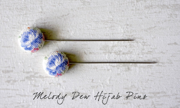Melody Dew Handmade Fabric Button Hijab Pins