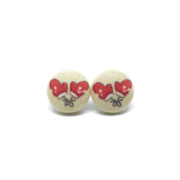 Santas Gloves Handmade Fabric Button Earrings