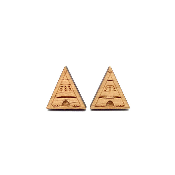 Teepee Tent Laser Cut Wood Earrings