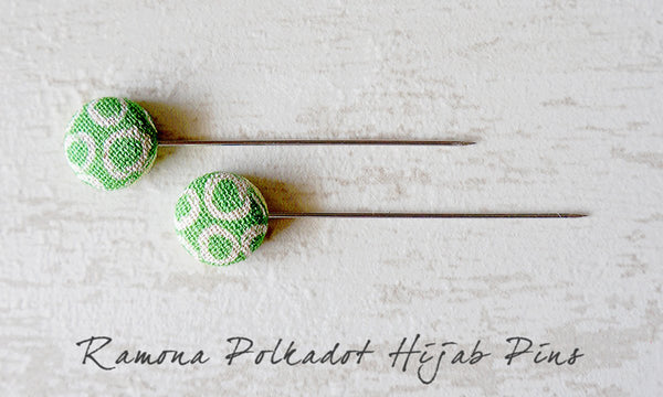 Ramona Polkdot Handmade Fabric Button Hijab Pins