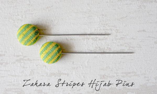 Zahara Stripes Handmade Fabric Button Hijab Pins