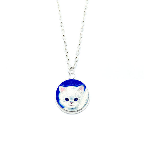 Adorable Snow Cat Wood Pendant Necklace