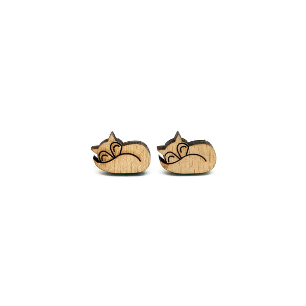 Sleeping Fox Laser Cut Wood Earrings