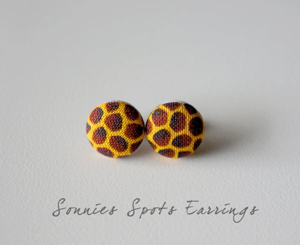 Sonnies Spots Handmade Fabric Button Earrings