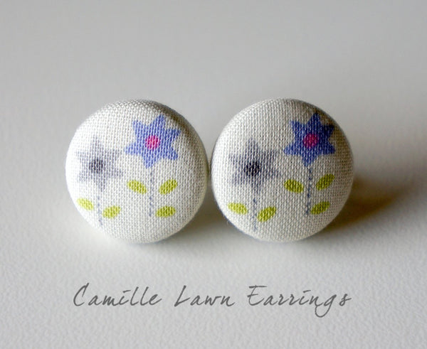 Camille Lawn Handmade Fabric Button Earrings