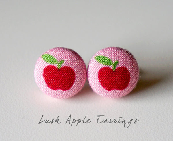 Lush Apple Handmade Fabric Button Earrings