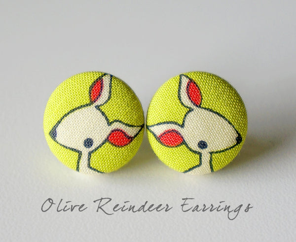 Olive Reindeer Handmade Fabric Button Earrings