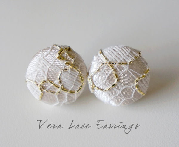 Vera Lace Handmade Fabric Button Earrings