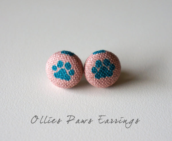 Ollies Paws Handmade Fabric Button Earrings