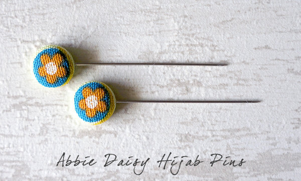 Abbie Daisy Handmade Fabric Button Hijab Pins