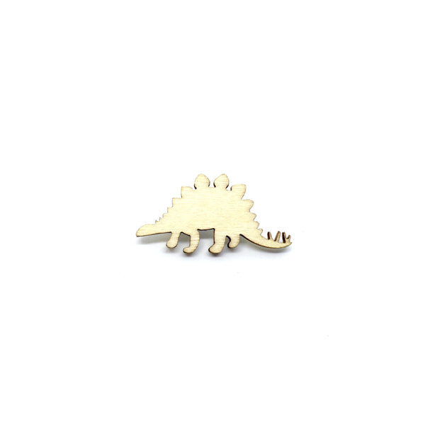 Stegosaurus Wooden Brooch Pin
