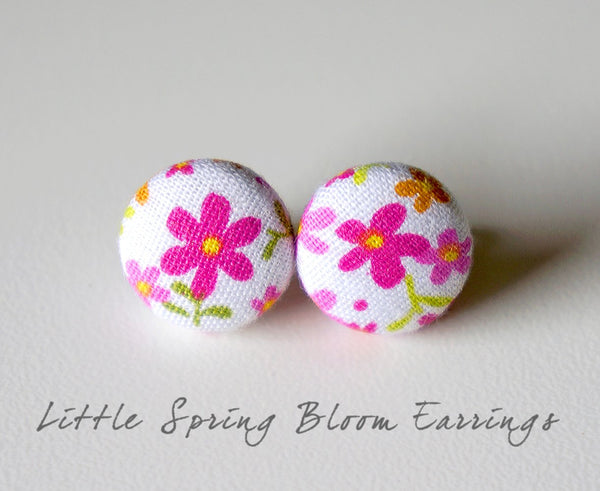 Little Spring Bloom Handmade Fabric Button Earrings