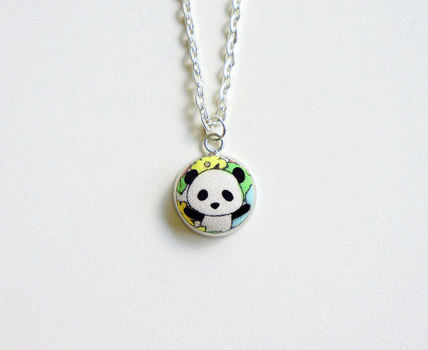 Haruki Panda SM Handmade Fabric Button Necklace
