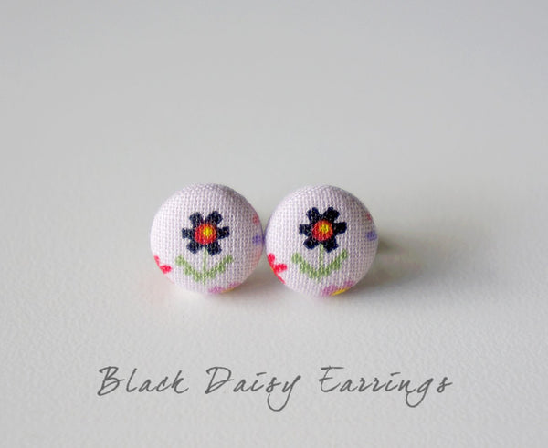 Black Daisy Handmade Fabric Button Earrings