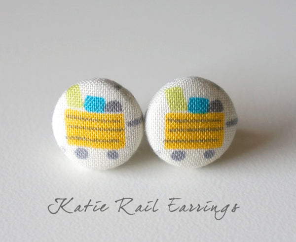 Katie Rail Handmade Fabric Button Earrings