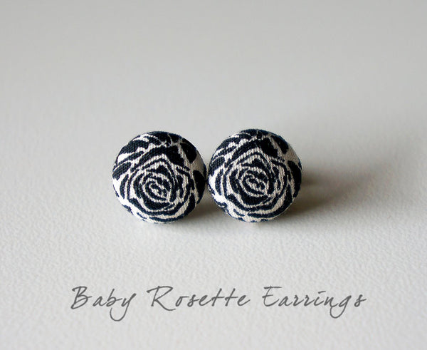 Baby Rosette Handmade Fabric Button Earrings