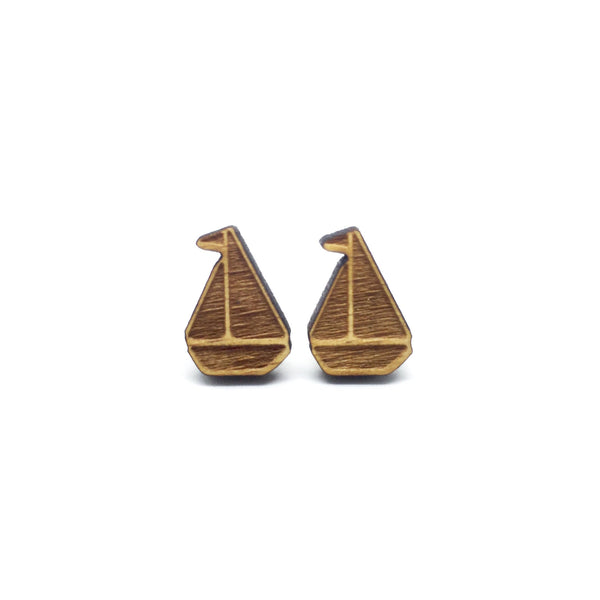 Sailboat Yacht Laser Cut Wood Earrings