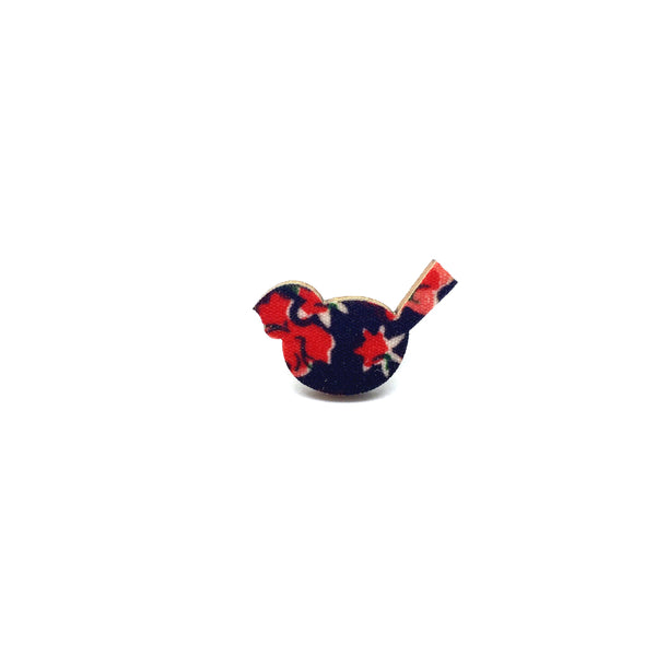 Red Floral Bird Wooden Brooch Pin