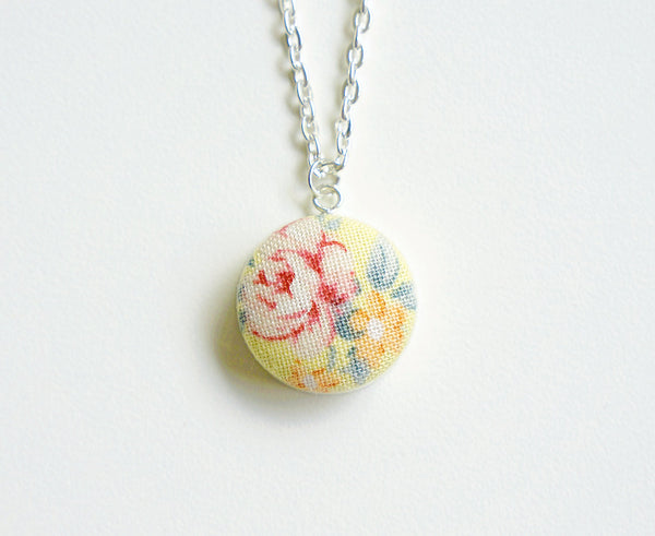Ellery Rose Handmade Fabric Button Necklace