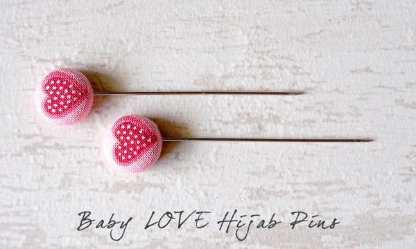 Baby LOVE Handmade Fabric Button Hijab Pins