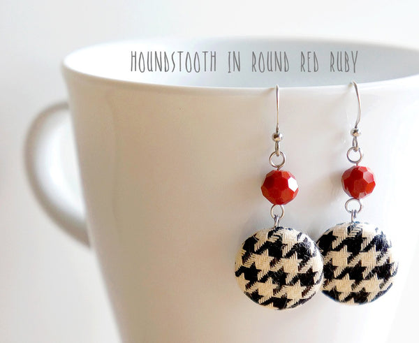 Houndstooth Dangle Handmade Fabric Button Earrings