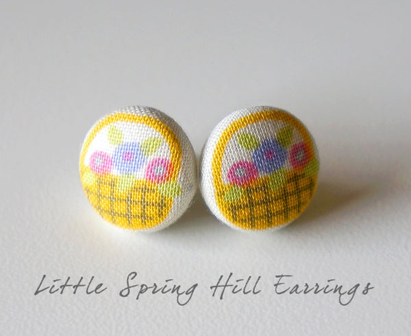 Little Spring Hill Handmade Fabric Button Earrings