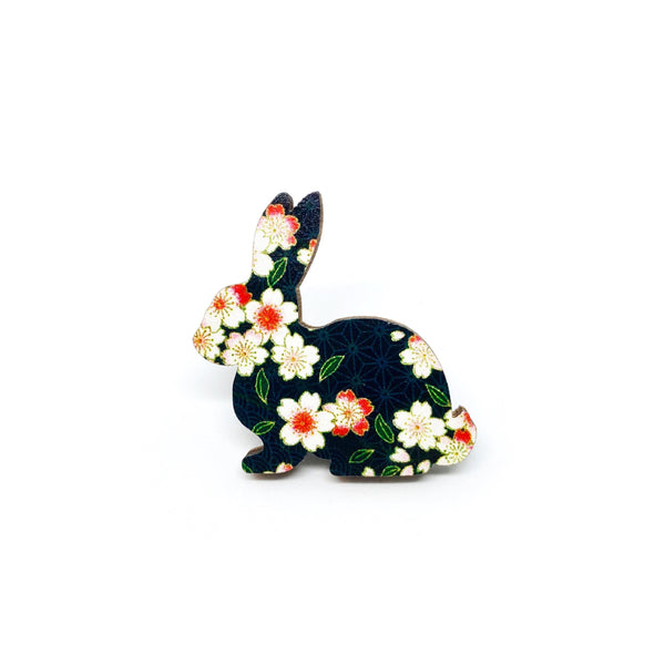 Black Floral Rabbit Wooden Brooch Pin