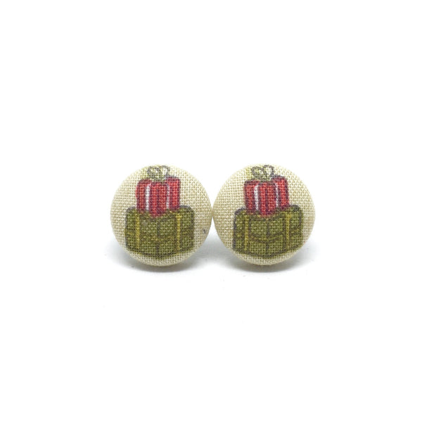Boxing Day Handmade Fabric Button Earrings