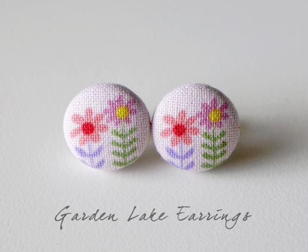 Garden Lake Handmade Fabric Button Earrings