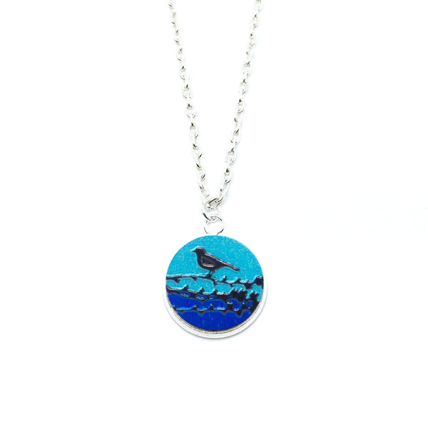 Bird On A Branch Blue Wood Pendant Necklace