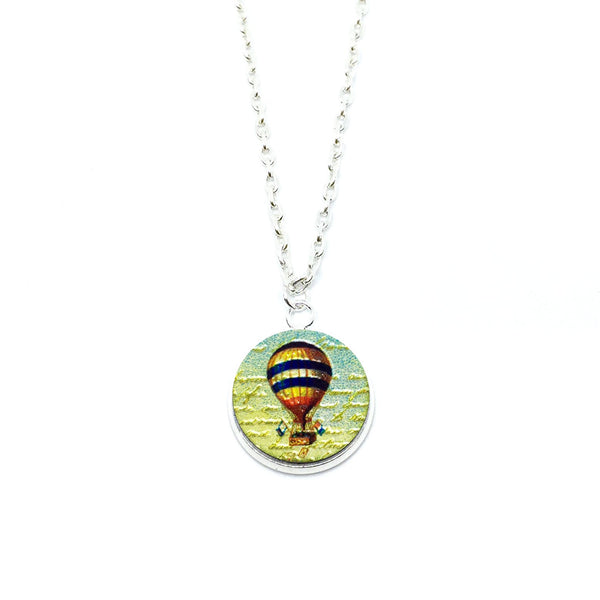 Vintage Hot Air Balloon Wood Pendant Necklace