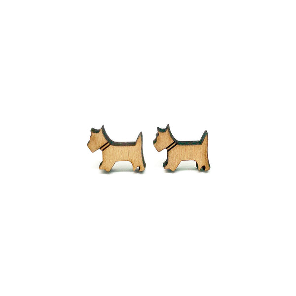 Terrier Dog Laser Cut Wood Earrings