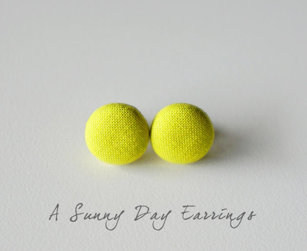 A Sunny Day Handmade Fabric Button Earrings
