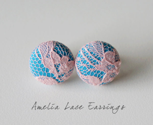 Amelia Lace Handmade Fabric Button Earrings