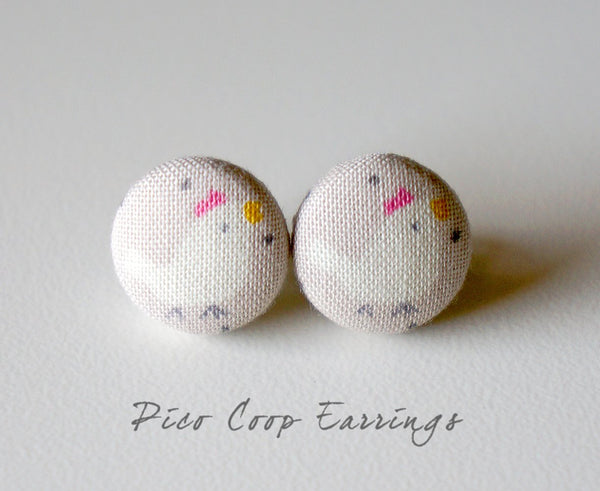 Pico Coop Handmade Fabric Button Earrings