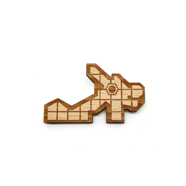 Dragon Playground Wooden Brooch Pin