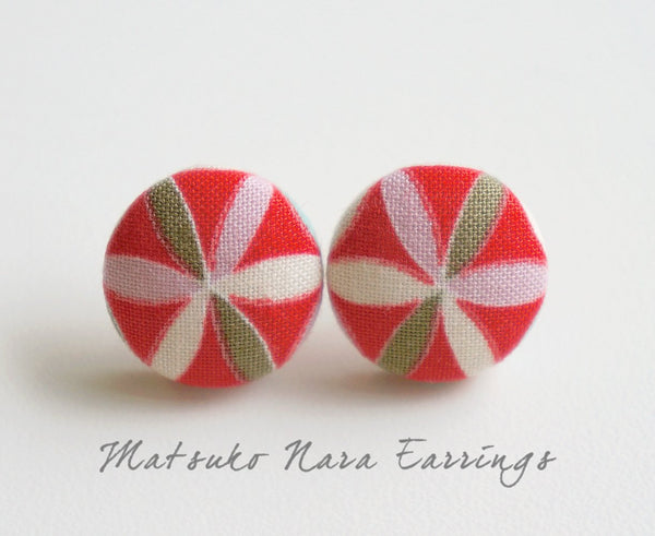 Matsuko Nara Handmade Fabric Button Earrings