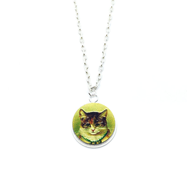 Vintage Home Cat Wood Pendant Necklace