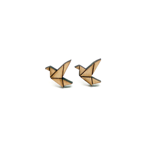 Origami Paper Crane Laser Cut Wood Earrings