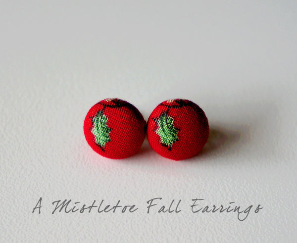 A Mistletoe Fall Handmade Fabric Button Earrings