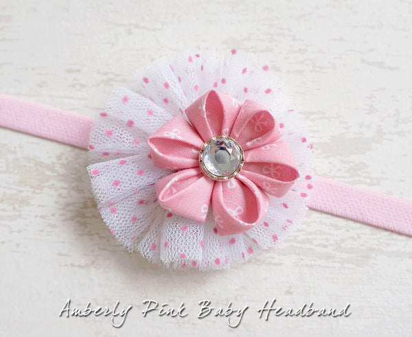 Amberly Pink Baby Headband