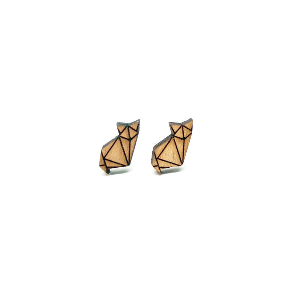 Origami Paper Fox Laser Cut Wood Earrings