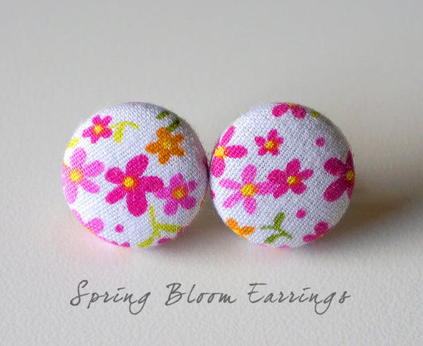 Spring Bloom Handmade Fabric Button Earrings