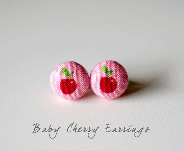 Baby Cherry Handmade Fabric Button Earrings
