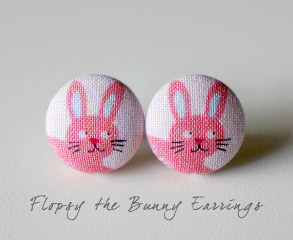 Flopsy the Bunny Handmade Fabric Button Earrings