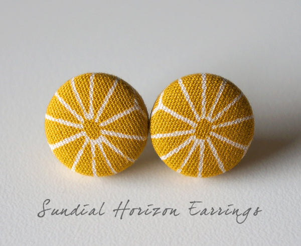 Sundial Horizon Handmade Fabric Button Earrings