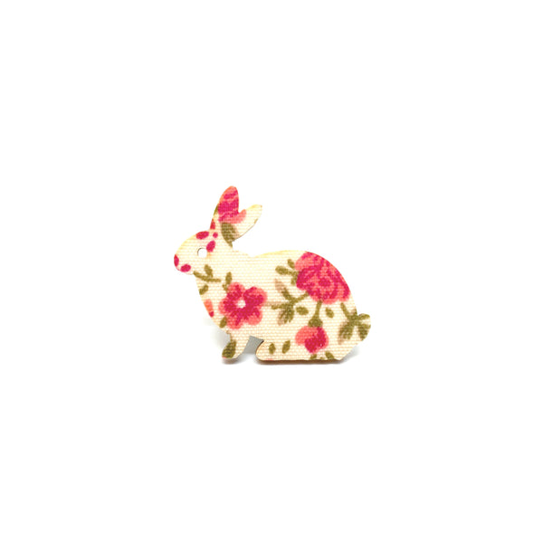 Pink Floral Rabbit Wooden Brooch Pin