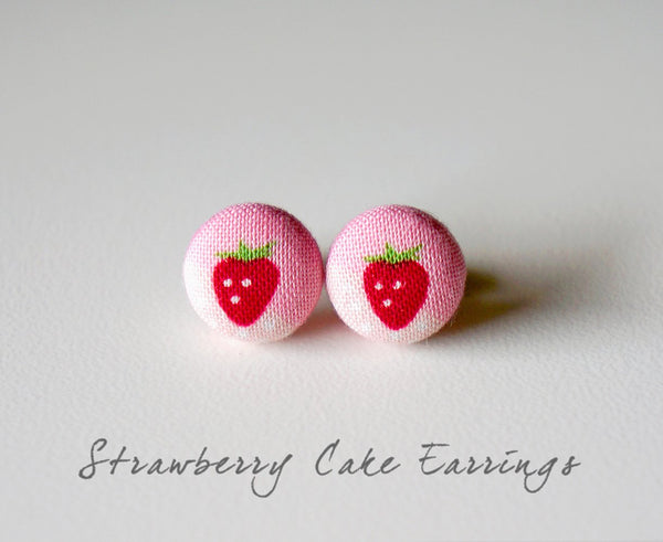 Strawberry Cake Handmade Fabric Button Earrings