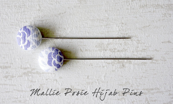 Mallie Posie Handmade Fabric Button Hijab Pins