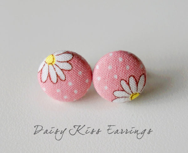 Daisy Kiss Handmade Fabric Button Earrings